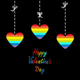 Happy Valentines Day. Love card. Hanging rainbow heart set.  Dash line with bows. Flat design. Royalty Free Stock Image
