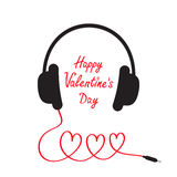 Happy Valentines Day. Love card. Headphones and cord in shape of three hearts. Word love. Flat design. White background. . Royalty Free Stock Photos