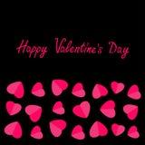 Happy Valentines Day. Love card. Heart frame. Flat design Pink symbol on black background. Stock Image
