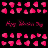 Happy Valentines Day. Love card. Heart frame. Flat design Pink symbol  Black background. Stock Image