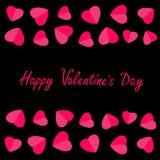 Happy Valentines Day. Love card. Heart frame. Flat design Pink symbol  Black background. Stock Image