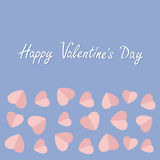 Happy Valentines Day. Love card. Heart frame. Flat design Rose quartz serenity color background. Stock Image