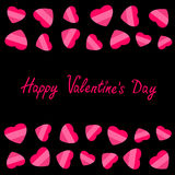 Happy Valentines Day. Love card. Heart frame. Flat design Striped pink symbol on black background. Stock Photography