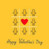 Happy Valentines Day. Love card. Man Woman contour line icon Tic tac toe game. Red heart sign Yellow background Flat design Royalty Free Stock Photography