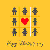 Happy Valentines Day. Love card. Man Woman icon Tic tac toe game. Red heart sign Yellow background Flat design Stock Photo