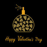 Happy Valentines Day. Love card. Perfume bottle with hearts inside. Gold sparkles glitter texture Black background Royalty Free Stock Photography