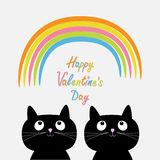 Happy Valentines Day. Love card. Rainbow and pink heart rain with two cute cartoon cats. Flat design style. Vector illustration Stock Image