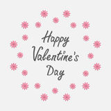 Happy Valentines Day. Love card.  Round frame with pink daisy. Flat design style. Stock Photos