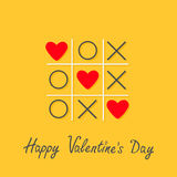 Happy Valentines Day. Love card. Tic tac toe game with cross and three red heart sign mark Flat design Yellow background Stock Photography