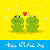 Happy Valentines Day. Love card. Two cute frogs. Red heart. Baby background Flat design Sparkles Stock Photo