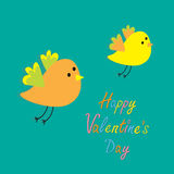 Happy Valentines Day. Love card. Two flying cartoon birds. Card. Flat design Royalty Free Stock Photos