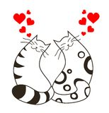 Happy valentines day love cats. Line art royalty free illustration
