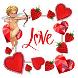 Happy Valentines Day love celebration frame in a watercolor style isolated. Royalty Free Stock Photo