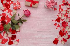 Happy Valentines Day love celebration in a rustic style isolated. royalty free stock photo