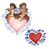 Happy Valentines Day love celebration in a watercolor style isolated. Stock Photo