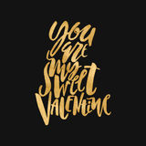 Happy valentines day love concept hand lettering motivation post Stock Images