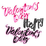 Happy valentines day love concept hand lettering motivation post Stock Photography