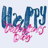 Happy valentines day love concept hand lettering motivation post Stock Photo