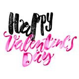 Happy valentines day love concept hand lettering motivation post Royalty Free Stock Image