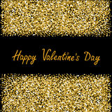 Happy Valentines Day. Love. Gold sparkles glitter frame Greeting card Black background Royalty Free Stock Photo