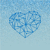 Happy Valentines Day love greeting card with geometric heart on blue background with falling glitter effect. Happy Valentines Day love greeting card with Stock Photography