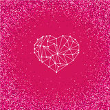 Happy Valentines Day love greeting card with geometric heart on bright pink background with glitter effect. Royalty Free Stock Photography