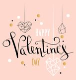 Happy valentines day love greeting card with white low poly style heart shape in golden glitter background.  royalty free stock photo
