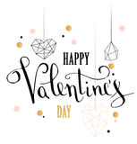 Happy valentines day love greeting card with white low poly style heart shape in golden glitter background. Calligraphy lettering. Vector illustration EPS 10 Royalty Free Stock Image