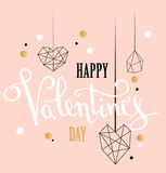 Happy valentines day love greeting card with white low poly style heart shape in golden glitter background. Calligraphy lettering. Vector illustration EPS 10 Stock Illustration