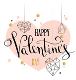 Happy valentines day love greeting card with white low poly style heart shape in golden glitter background. Calligraphy lettering. Vector illustration EPS 10 Stock Photos