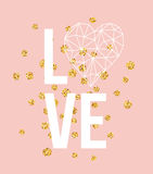 Happy valentines day love greeting card with white low poly style heart shape in golden glitter background. Vector Royalty Free Stock Photography