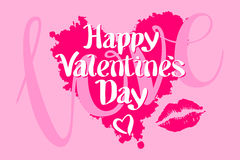 Happy Valentines day love heart red pink kiss Stock Photography
