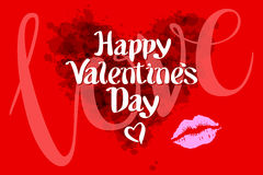 Happy Valentines day love heart red pink kiss Royalty Free Stock Photos
