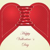 Happy Valentines day. Love and heart (to lace up). Royalty Free Stock Image