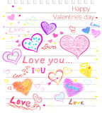 Happy Valentines Day Love, Hearts Sketchy Notebook Stock Photography