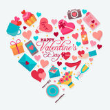 Happy Valentines day. Love icons set in heart shape. Flat style vector illustration Stock Image