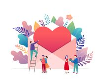 Happy Valentines day, love letter concept. Big envelope with red heart and small people, romantic background, banner royalty free illustration