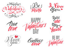Happy Valentines Day and Love lettering set. Stock Photo
