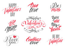 Happy Valentines Day and Love lettering set. Stock Images