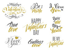 Happy Valentines Day and Love lettering set. Stock Photography