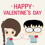 Happy valentines day love link cartoon Royalty Free Stock Image