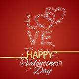 Happy Valentines Day love stars red background. Happy Valentines Day love stars hearts red background vector Royalty Free Stock Images