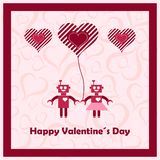 Happy valentines day with loving robots. Royalty Free Stock Photo