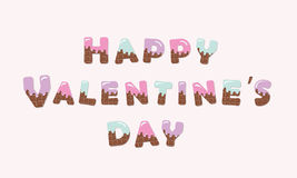 Happy Valentines day melt chocolate letters. Royalty Free Stock Photography