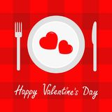 Happy Valentines Day menu card. Fork, knife, plate with two hearts. Red checkered pattern tablecloth. Gingham, picnic blanket. Fla Royalty Free Stock Photo
