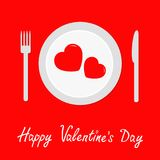 Happy Valentines Day Menu card. Fork, knife, plate with two hearts. Red tablecloth. Picnic blanket. Flat design style. Romantic ba. Ckground. Vector illustration Stock Photos