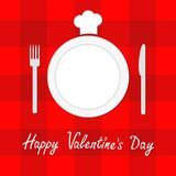 Happy Valentines Day Menu card. Fork, plate, knife and chefs hat. Red checkered pattern tablecloth. Gingham, picnic blanket. Flat Royalty Free Stock Image
