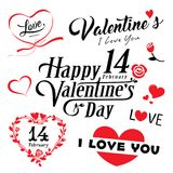 Happy valentines day message and red heart collections Stock Photography