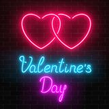 Happy Valentines Day neon glowing festive sign on a dark brick wall background. Love holiday greeting card with lettering. Vector illustration Stock Photography