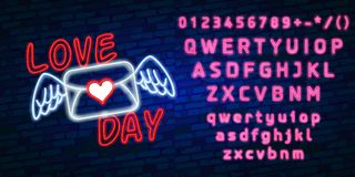 Happy Valentines Day neon glowing festive sign on a dark brick wall background. Love you text in heart shape. Holiday. Greeting card with lettering. Vector Stock Images